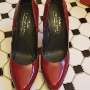 Red patent leather Donald J Pliner pumps